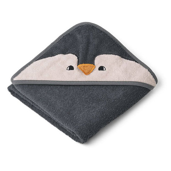 Liewood Baby towel Albert Penguin stone grey 70cm - Liewood