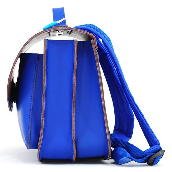 Own Stuff Own Stuff leather school bag cobalt - magnetic lock