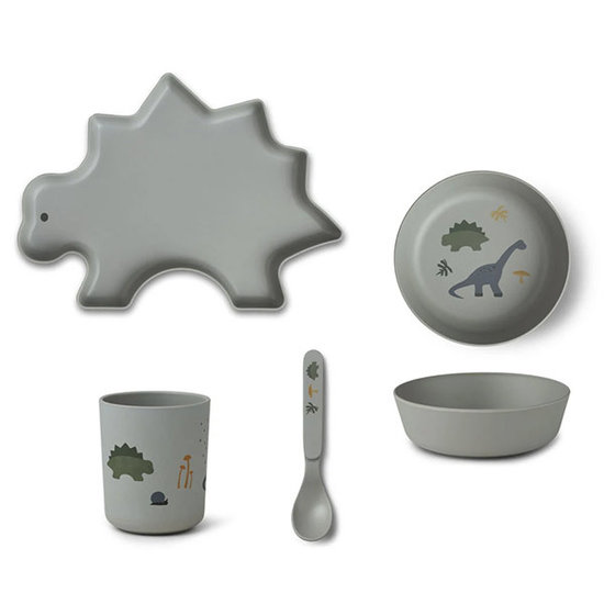 Liewood Bamboe kinderservies Dino dove blue mix - Liewood