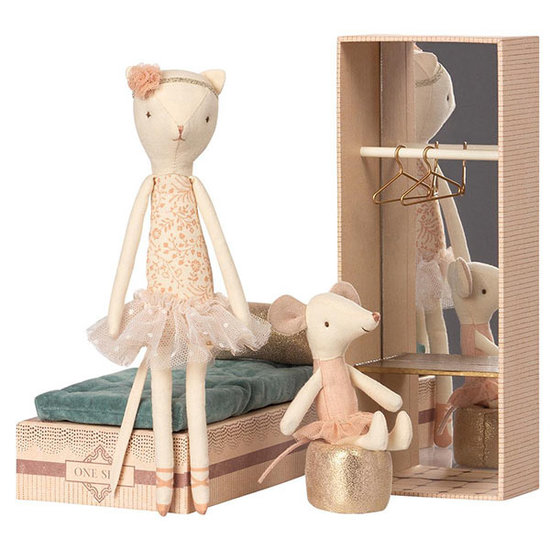 Maileg Maileg dancing cat and mouse in shoebox