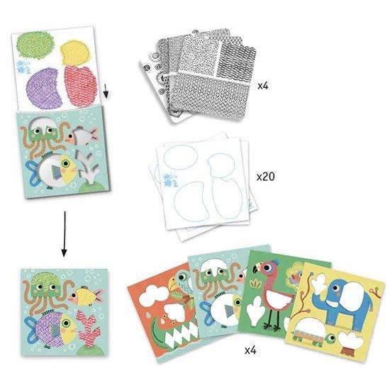 Djeco Djeco - kleurplaten - krasmotieven - De vriendjes van Magali 3-6jr