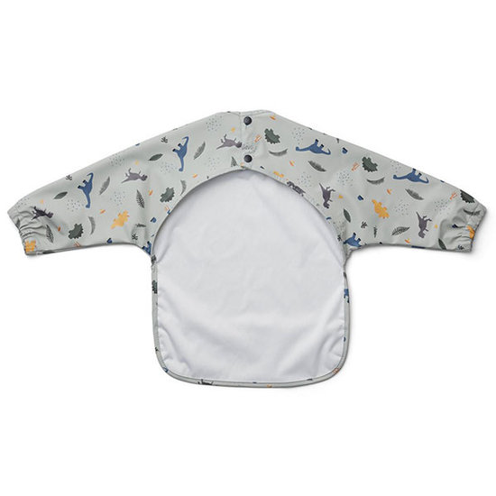 Liewood Baby bib with sleeves Dino dove blue mix - Liewood