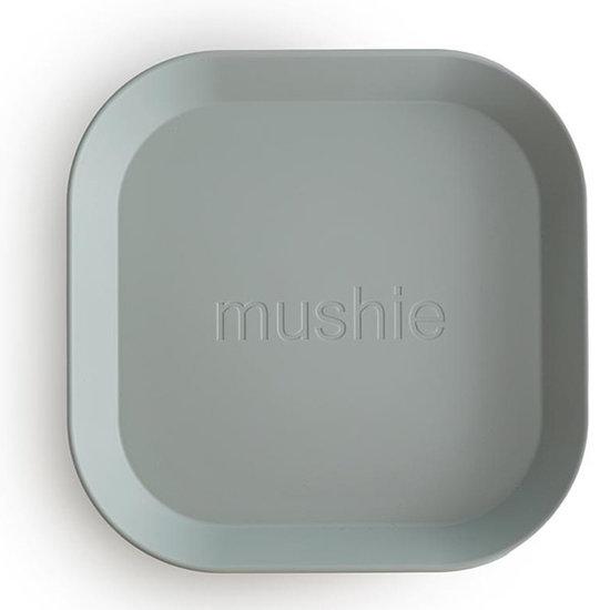 Mushie Mushie quadratisch Geschirr Teller 2er Set - Sage
