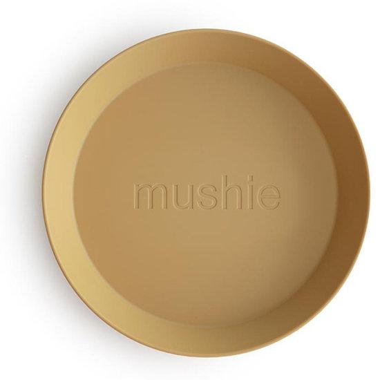Mushie Mushie runde Geschirr Teller 2er Set - Mustard