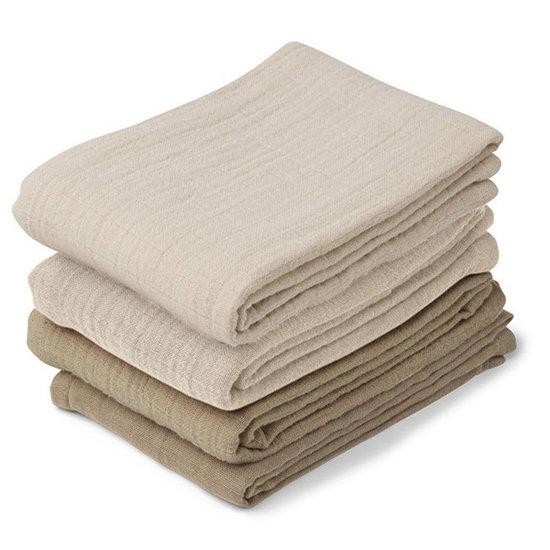 Liewood Liewood hydrofiele doeken Leon 4 pack - Natural-Sandy