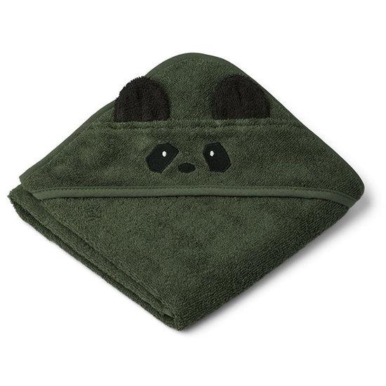 Liewood Baby towel Albert Panda Hunter green 70cm - Liewood
