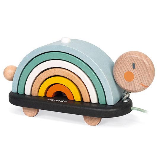 Janod speelgoed Trekdier regenboog schildpad Sweet Cocoon - Janod