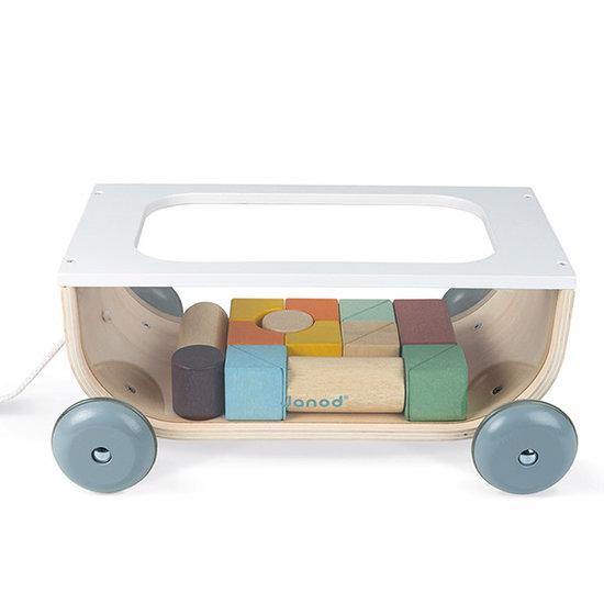 Janod speelgoed Janod Nachziewagen mit Bausteinen Sweet Cocoon