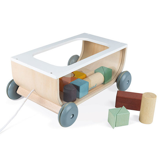 Janod speelgoed Cart with blocks Sweet Cocoon - Janod