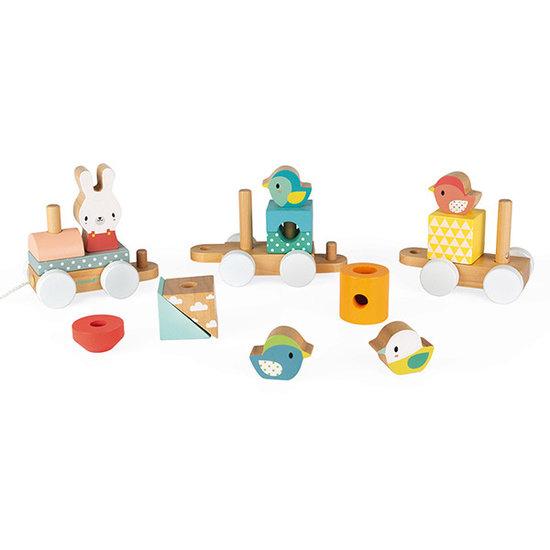 Janod speelgoed Janod blokkentrein Pure