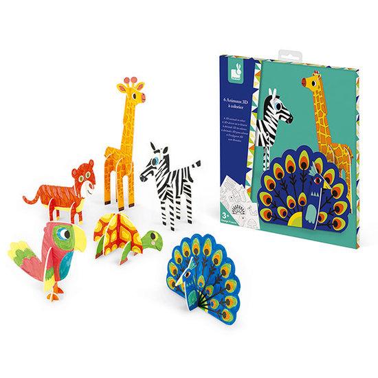 Janod speelgoed Janod Bastelset 3D Tiere zum bemalen