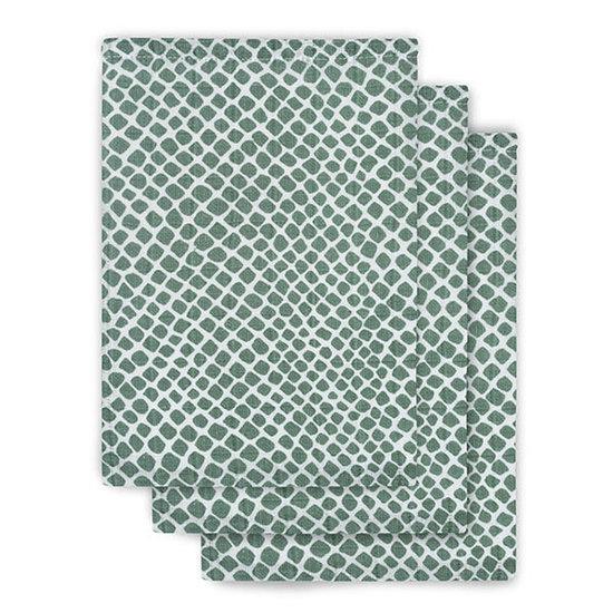 Jollein Jollein hydrofiel washandje Snake ash green 3pack