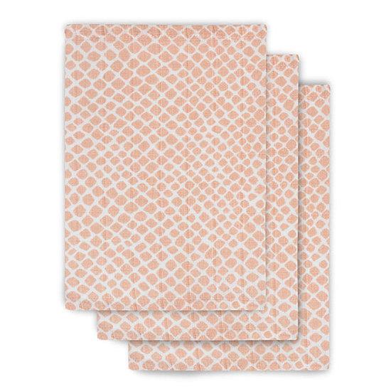Jollein Jollein muslin washcloth Snake pale pink 3pack