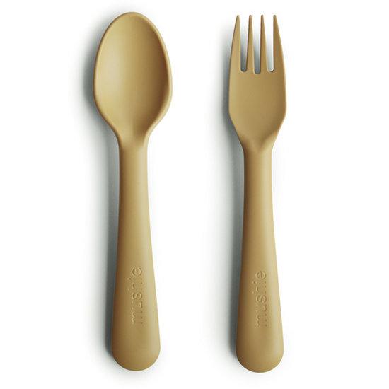 Mushie Mushie vork en lepel - Mustard
