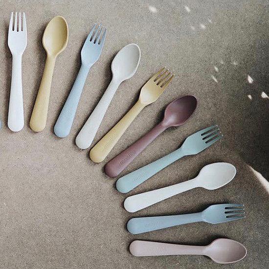 Mushie Mushie vork en lepel - Vanilla