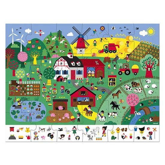 Janod speelgoed Janod zoekpuzzel De boerderij 24st +3jr