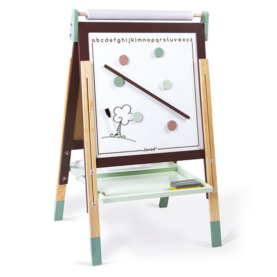 Janod speelgoed Janod magneetbord - krijtbord taupe en groen