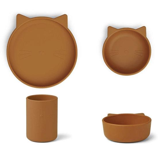 Liewood Liewood Cyrus silicone servies Cat mustard