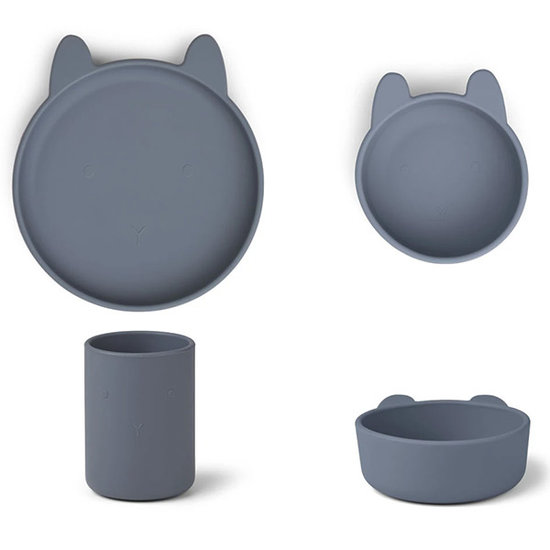 Liewood Liewood Cyrus silicone servies Rabbit blue wave