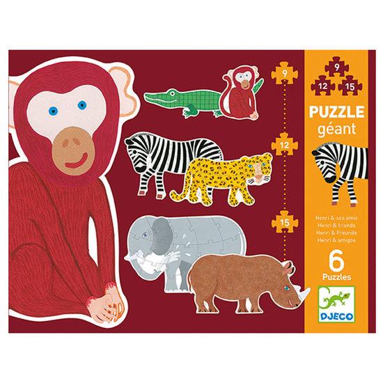 Djeco Djeco giant puzzle Henri and friends 9-12-15pcs