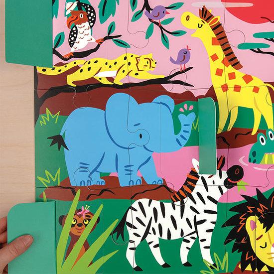 Mudpuppy Mudpuppy lift-the-flap puzzle On safari 12pcs