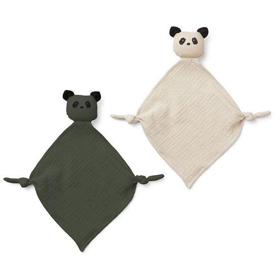 Liewood Liewood Yoko cuddle cloths panda Hunter green mix