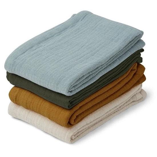 Liewood Liewood muslin cloths Leon 4 pack - Blue mix