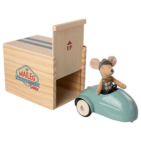 Maileg Maileg muis met auto en garage - blauw