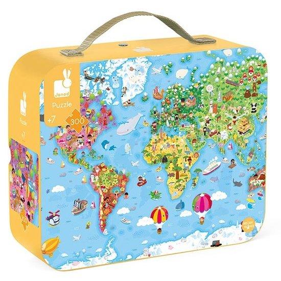 Janod speelgoed Janod - Puzzle case - world map - 300pcs - +6yr