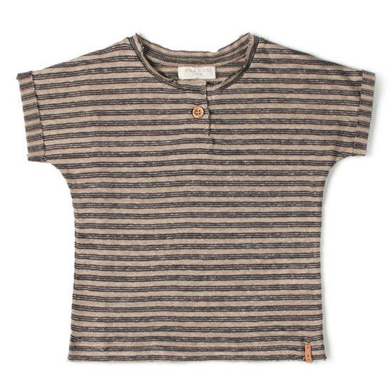 Nixnut Nixnut t-shirt korte mouw biscuit night stripe