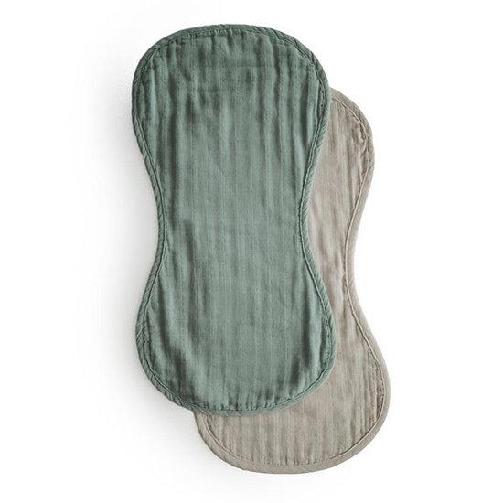 Mushie Mushie burp cloths Roman Green - Fog