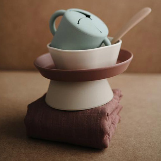 Mushie Mushie siliconen snack cup Cloudy mauve