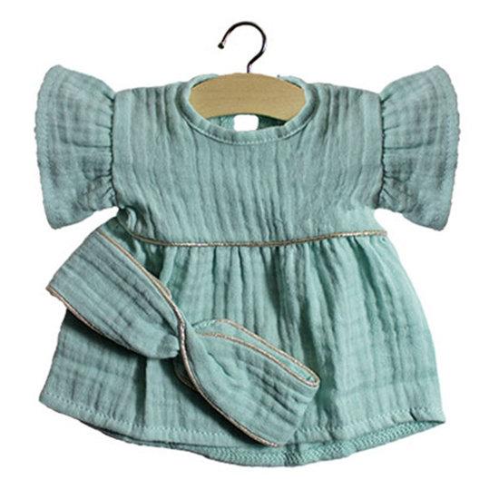 Minikane Doll dress with headband Daisy green - Minikane