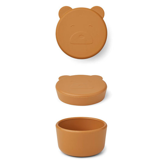 Liewood Liewood Carrie snack box Mr Bear mustard