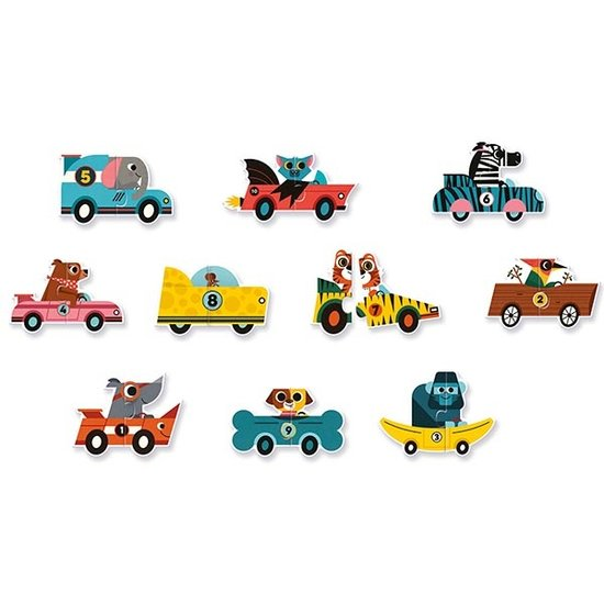 Djeco Djeco puzzel duo racewagens 10x 2st