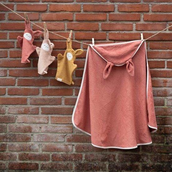 Fabelab Fabelab hooded baby towel Bunny Clay
