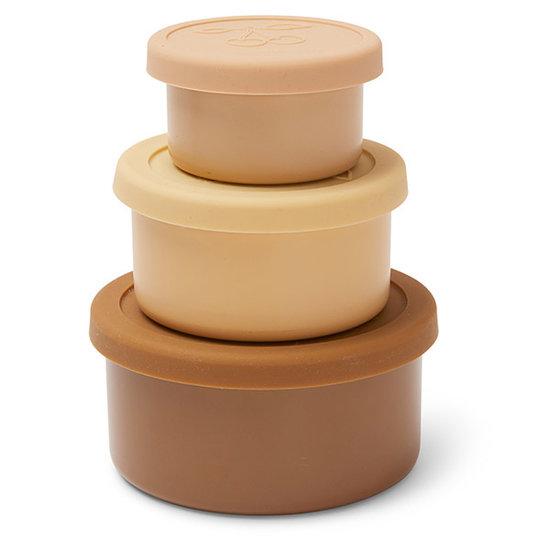 Konges Slojd Konges Slojd food boxes lid round 3 pack -  Rose