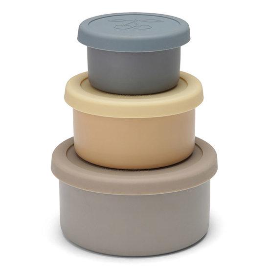 Konges Slojd Konges Slojd food boxes lid round 3 pack -  Blue