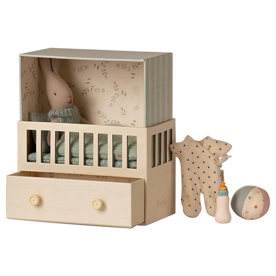 Maileg Maileg baby room with micro rabbit blue