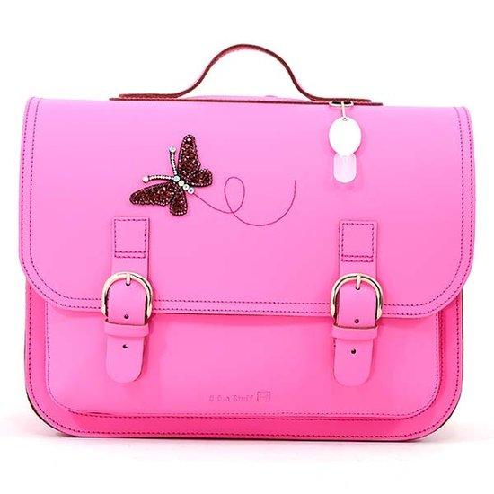Own Stuff Own Stuff lederen boekentas roze vlinder