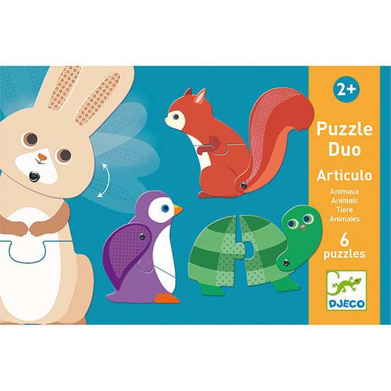 Djeco Djeco puzzel duo dieren 6x 2st