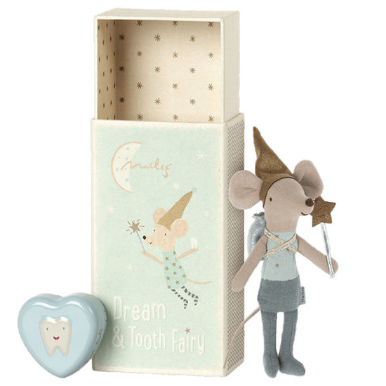 Maileg Maileg tooth fairy boy Blue in box with tooth box