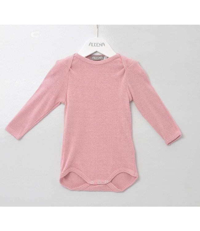 Alkena Alkena - Body langarm rosa, gerippt - Bouretteseide