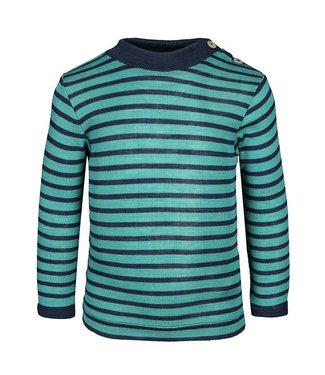 Engel Natur Engel - chemise col montant bébé - manches longues - avec boutons en nacre sur l'épaule - côtes fines - martin-pêcheur / marine