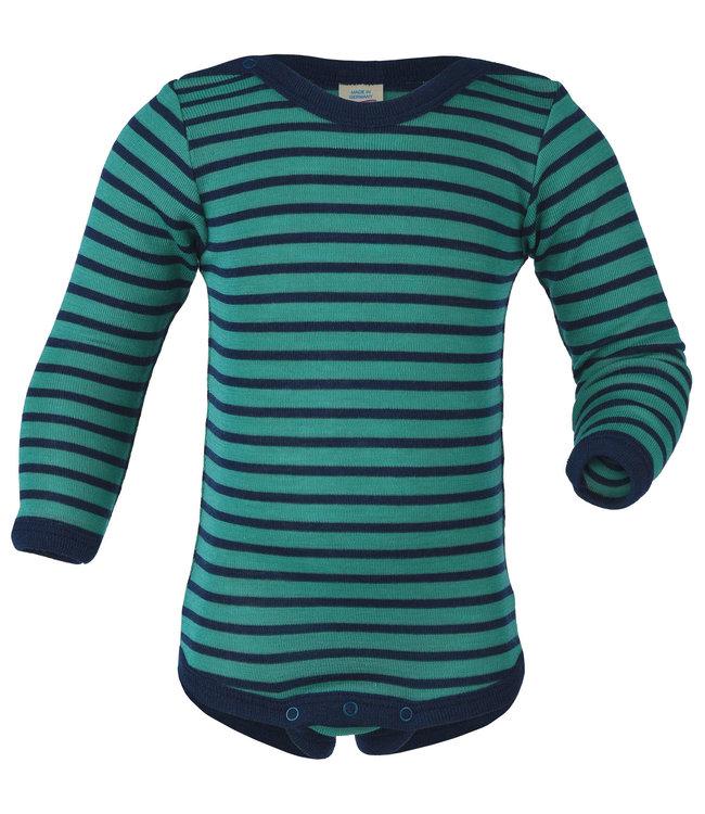 Engel Natur Body bébé - manches longues - avec boutons pression sur les épaules - laine / soie - martin-pêcheur / marine