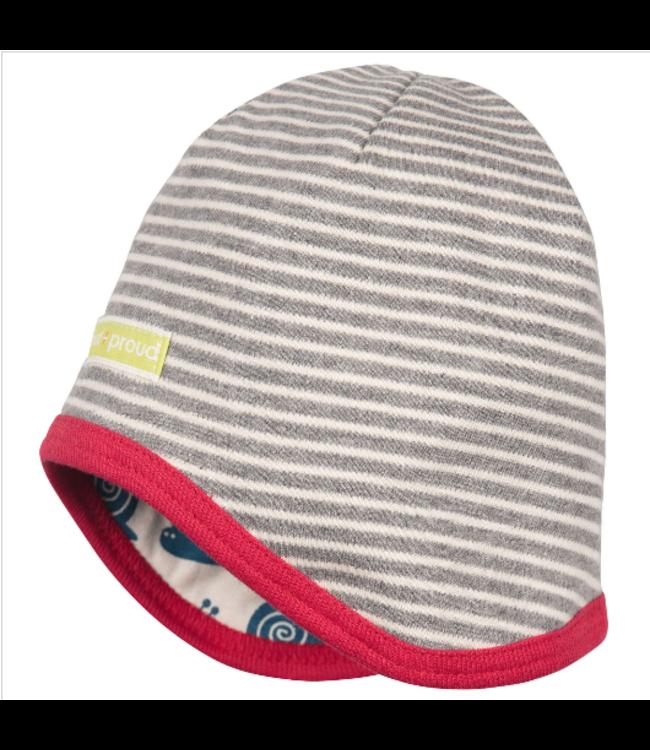 Loud and Proud Loud and Proud - chapeau réversible - rayé gris / blanc - bonnet d'escargot