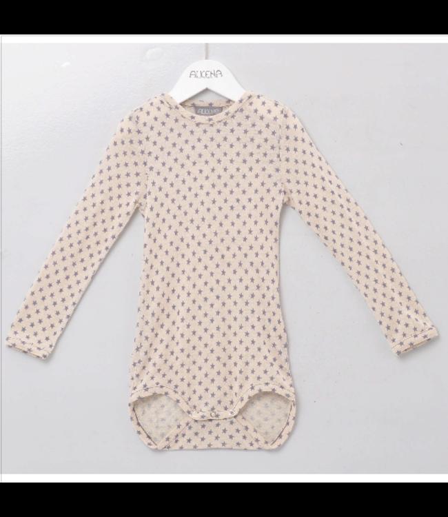 Alkena Body avec boutons sur les épaules - naturel avec imprimé étoile - manches longues - soie Bourrette - (jusqu'à 98)