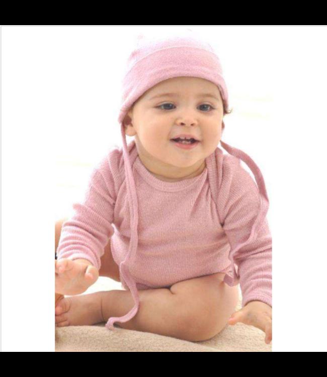Alkena Alkena - Body langarm rosa mit Knöpfen an den Schultern - Bouretteseide
