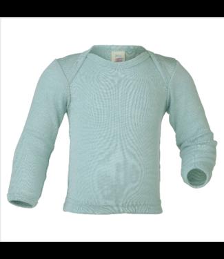Engel Natur Engel Natur - chemise à enfiler pour bébé - laine / soie - manches longues, côtes fines - glacier