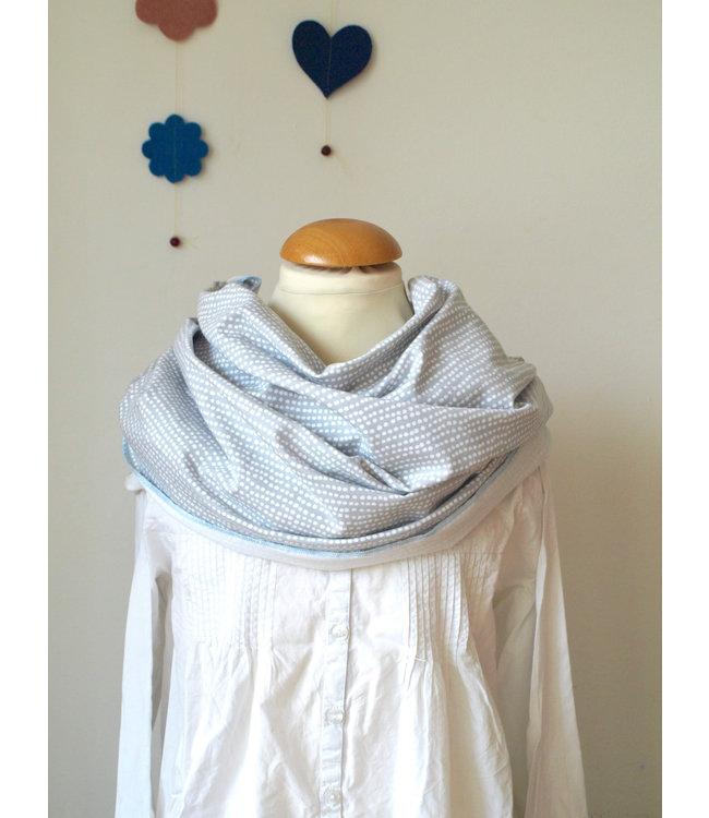 Villa Sepia Villa Sepia - écharpe d'allaitement bio / boucle d'allaitement - pois - gris clair / blanc